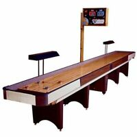 Shuffleboard Table with Scoreboard and Lights