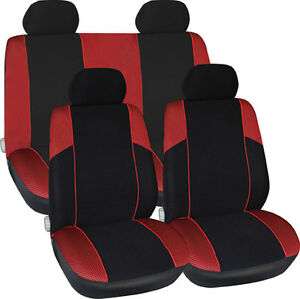 new red black fabric interior protection race style low back car seat covers ebay. Black Bedroom Furniture Sets. Home Design Ideas