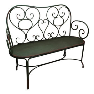 BEAUTIFUL-WROUGHT-IRON-Bench-Seat-Green-Garden-Chair-French-metal-outdoor