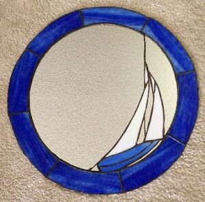 Stained Glass Mosaic Sailboat Mirror