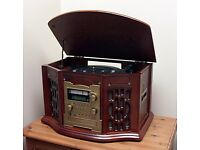 Multi Function Stereo FM/AM Radio, Cassette Tape Player, CD Burner and Turntable