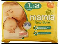 Mamia new born size 1 and 2 nappies, Aldi