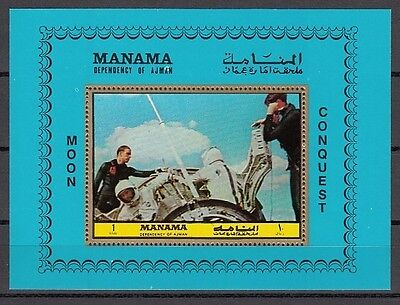 Manama, Michel cat. 1070, BL207 A. Apollo 11 Splashdown, Space s/sheet. on Rummage