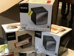 LOT 3 Sony ICF-C1T Desktop Alarm Clock AM FM Radio Black Automatic Set UP W/BOX
