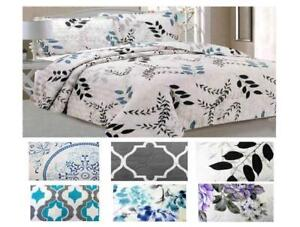 3 pc Printed Quilt Cover Set - Size: Queen