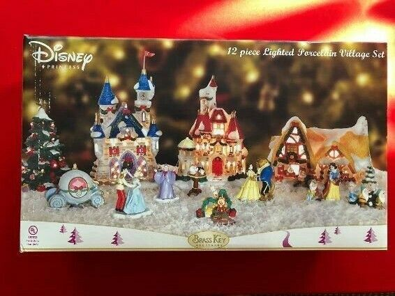 Disney Princess 12 Piece Lighted Porcelain Village Set New in Box-DISNEY LOVERS