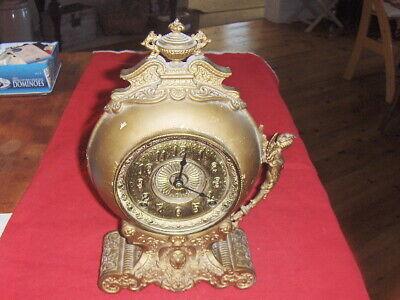 1898 Antique Kroeber Brass Ornate Decorator Vintage Figural Mantel Clock/ Parts