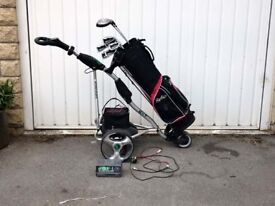 ELECTRIC GOLF TROLLEY AND CLUBS