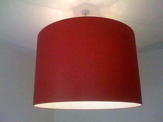 2 x Custom Made IBERIAN LIGHTING Large Red Drum Lampshades