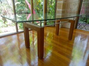 Designer teak, stainless steel and glass dining table Willoughby Willoughby Area Preview