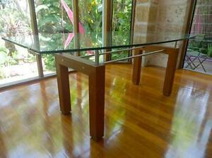 Teak, stainless steel and glass designer dining table Willoughby Willoughby Area Preview