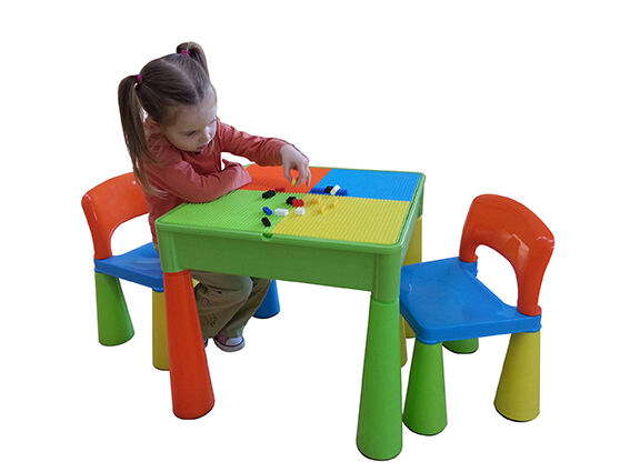 5 in 1 Multipurpose Activity Table & 2 Chairs - Multicoloured
