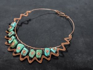Handmade copper wire wrap turquoise necklace