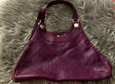 Purple Gucci Leather Gucci satchel with gold hardware