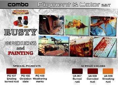 Rust Weathering Painting Pigment & Color Acrylic Set 6 22ml Bottles Lifecolor