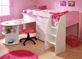 White/Lilac Stompa mid sleeper Single bed