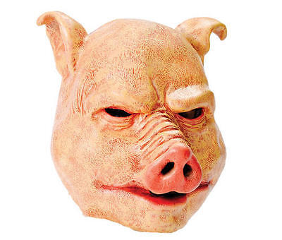 Latex Halloween Outfit (Horror Pig Latex Rubber Mask Fancy Dress Costume Outfit Prop)
