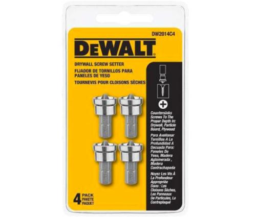 DeWALT DW2014C4 Drywall Screw Setter Bit Tip 4 Tips Per Pack Drill Bits