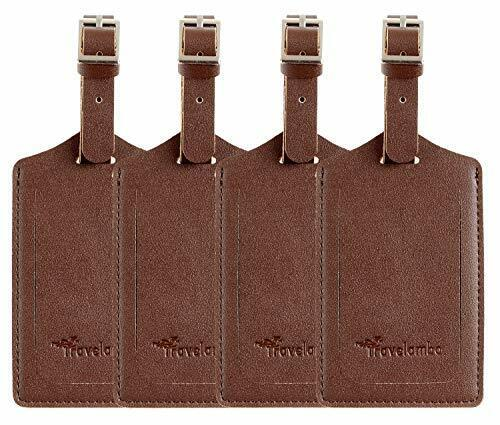 4 Pack Leather Luggage Travel Bag Tags by  Brown Brown