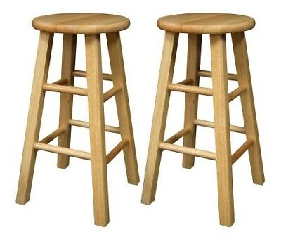 Winsome Wood 24-Inch Square Leg Bar stool with Natural Finish, Set of 2