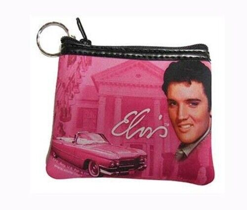 Elvis Presley Pink With Cadillac And Guitar Key Chain Coin Purse  - Licensed New