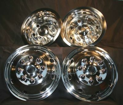 "Ford-E350-E450-RV-Motorhome-16"" 8 hole Stainless-Dually-Wheel-Simulators-SNAP ON"