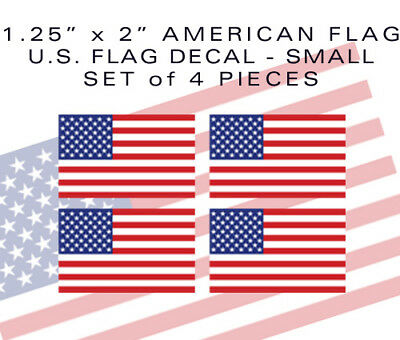 "4pack SMALL 2"" American Flag bumper sticker decal military tactical USA VINYL"