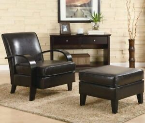 Ottoman Brown Roundhill Furniture Wonda Bonded Leather