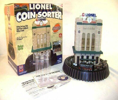 NEW ~ Lionel ~ Talking Coin Sorter with Clock ~ Travel By Train ~ Bank