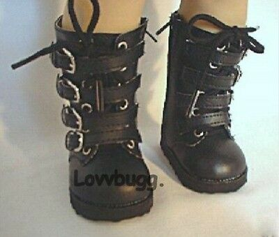 Black Buckle Combat Boots American Girl or Boy for 18