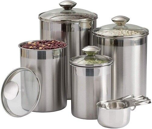 8-Piece Stainless Steel Beautiful Canister Set for Kitchen w