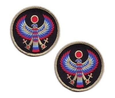 """Set of 2 Horus Egyptian Bird Falcon Hawk God Sew-On Embroidered Patches 3"""" Dia"""