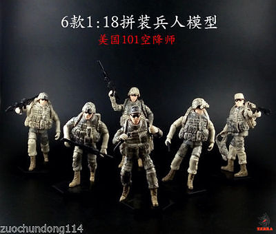 1/18  six US soldiers army/military action figures lot (unassembled in bags)](Military Action Figures)