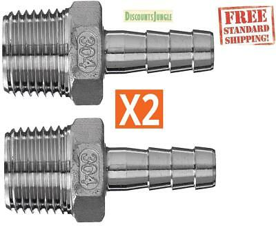 """1/2"""" MPT x 3/8"""" Hose Barb Male thread NPT Stainless Steel 304 Ships From US (X2)"""