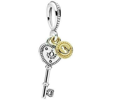 Authentic Pandora Heart-Shaped Key Dangle 14k Rose Gold Charm 796593 - $15.50
