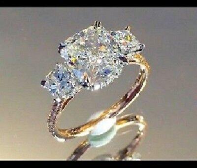 925 Silver Engagement Ring 3.00 Carat 3 Stone Cushion Diamon