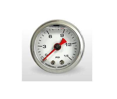 Marshall Gauge 0-15 Psi Fuel Pressure Gauge White 1.5