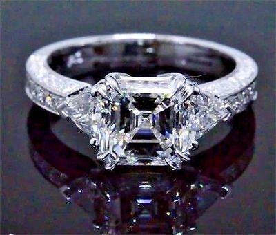 2.10 Ct 3-Stone Asscher, Trillion & Round Cut Diamond Engagement Ring H,VVS2 GIA