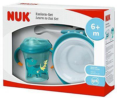 NUK Esslern-Set Boy Geschenkbox Cup Esslernschale Löffeln inkl Ersatz-Trinktülle