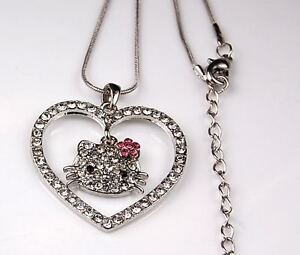 HELLO KITTY CRYSTAL HEART NECKLACE PENDANT PINK FLOWER