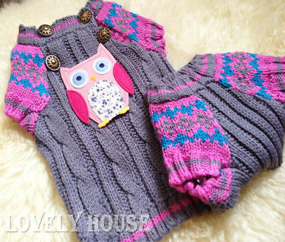 Machine knit dog jumper in purple.