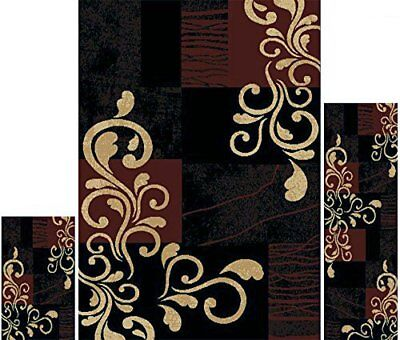 Chuck out Rugs 3 Piece Set Living Room Area Floor Mat Runner Scatter Black Brown