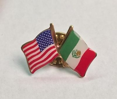 MEXICO and USA Crossed Friendship Flag Lapel Pin **MADE IN USA**