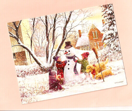 Golden Retriever Puppy Snowman Christmas Cards by Lang Box of 18 Frosty*