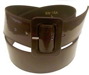 Wide Patent Leather Cinch Belt for Women