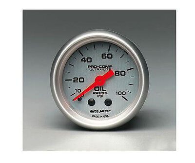Medidor de presión de aceite mecánico Auto Meter Ultra-Lite de 2-1 / 16 (52 mm) 0-100 Psi
