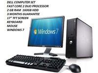 Cheap PC Windows 7 Dell Computer Set Desktop/Tower 2GB RAM 160GB HDD WiFi 17 inches TFT