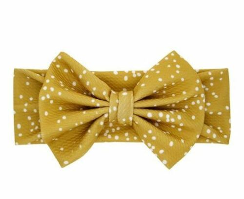 Adorable baby girl headband with bow in Beige Polka Dot, Free Shipping