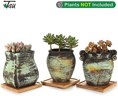 Ceramic Succulent Plant Pot With Square Tray Set Of 3, Colorful Oil Painting