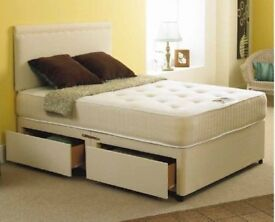 EXPRESS FAST DELIVERY---- DOUBLE DIVAN BED BASE INCLUDING MATTRESS (Headboard Optional)